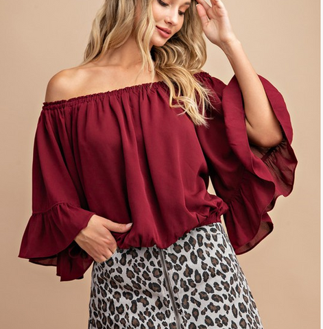 Wine Off the Shoulder Top