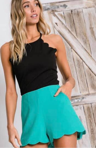 Turquoise Scallop Shorts