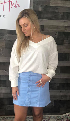 Pastel Blue Corduroy Button Skirt