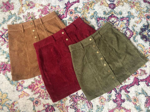 Olive Corduroy Button Skirt