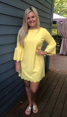 Yellow Scallop Dress
