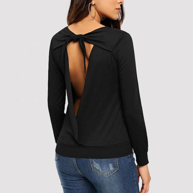 fa501483f90e Sexy Backless Long Sleeve Plain T-Shirts – Godestify