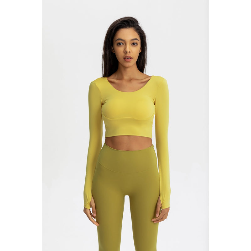 B|Fit Seamless Sculpt Crossed Crop - Yellow - B|Fit Amazighld
