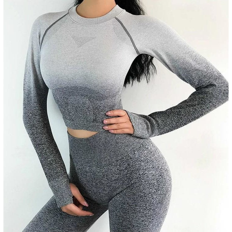 Luna Seamless Ombre Sleeved Crop - Grey - B|Fit Amazighld