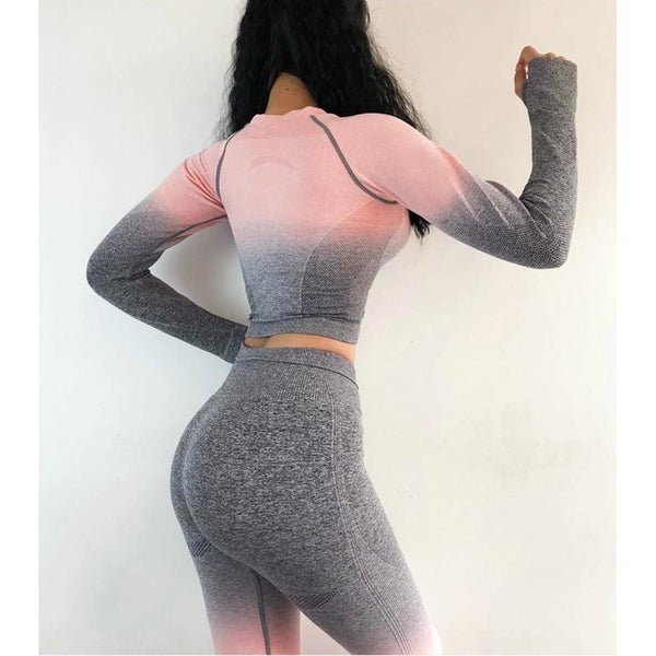 Luna Seamless Ombre Sleeved Crop - Grey Pink - B|Fit Amazighld