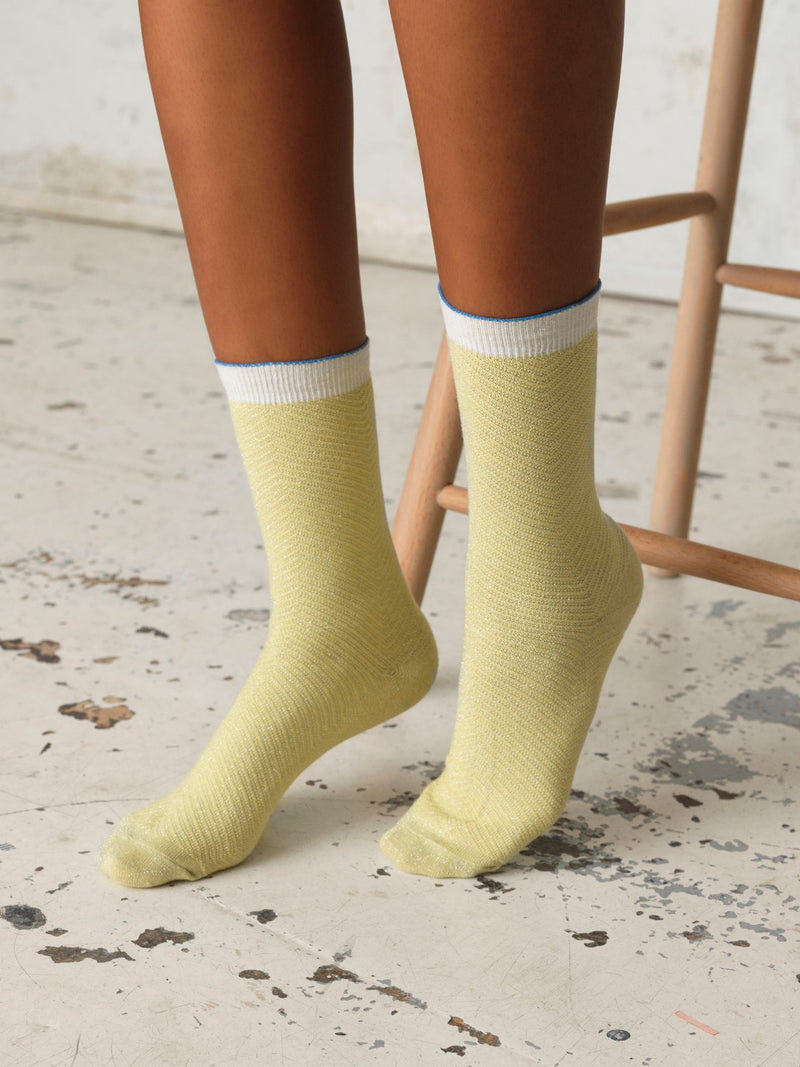 Becksöndergaard, Dana Herringbone Frill Sock - Yellow, outlet flash sale, outlet flash sale