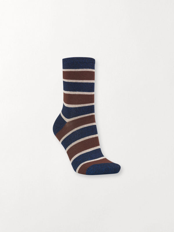Becksöndergaard, Dory Stripe - Dark Chestnut, accessories, socks, accessories, socks, accessories