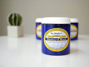 Image of 16oz Dr. Singha's Mustard Bath; blue tub with white lid