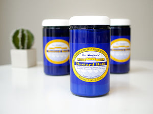 Image of 32oz Dr. Singha's Mustard Bath; blue tub with white lid