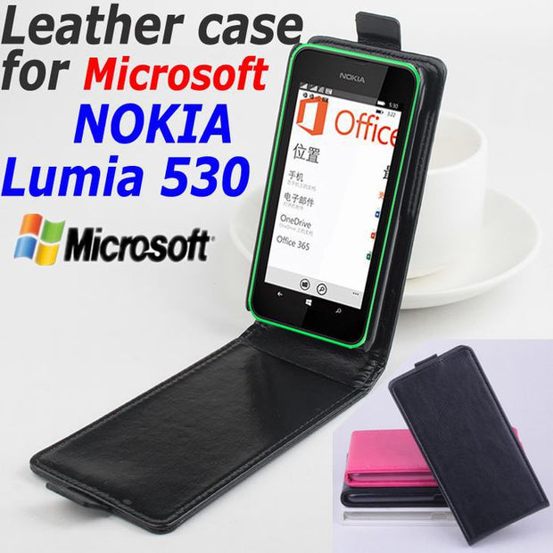 size 40 139fa 24e02 100% High Quality Leather Case For Microsoft NOKIA Lumia 530 Flip Cover  Case Housing Lumia530 / Rock Leather Cover Phone Cases