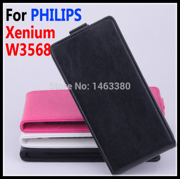 100% High Quality Leather Case For PHILIPS Xenium W3568 Flip Cover Case For PHILIPS W 3568 Leather Cover Case Phone Covers Cases