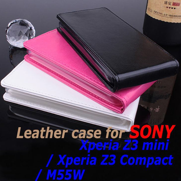 100% High Quality Leather Case For SONY Xperia Z3 Mini / Compact Flip Cover Case For SONY Z 3 M55W Leather Cover Phone Cases