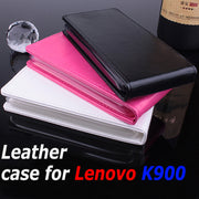 100% High Quality Luxury Leather Case For Lenovo K900 Flip Cover Case With Lenovos K 900 Phone Cover Case Cellphone Covers Cases