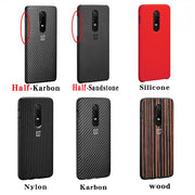 100% Original Oneplus 6 Case Official Sandstone Karbon Nylon Wood Oneplus 6 Back Cover One Plus 6 Case Oneplus 6 Case Capa Coque