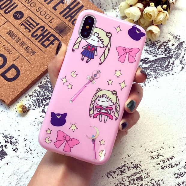 10pcs/lot Cutie Cartoon Kitty Sailor Moon Glossy Soft TPU Cover Phone Case For IPhoneXS MAX 8P 6s 7plus Skinny Shell Protection