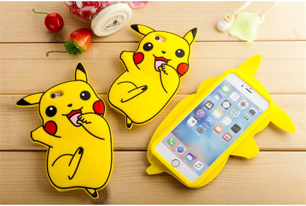 2016 New Lovely 3D Anime Cartoon 3D Pocket Monsters Pokemon Pikachu Back Case Cover For Iphone 7 7plus 6 6S 6+ Iphone6 Plus 5s