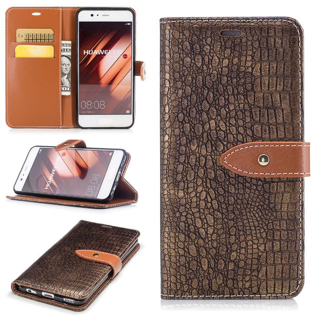 2017 Classical Crocodile Pattern Phone Cases Leather Protective Cover With Credit Card Pocket For Huawei P10