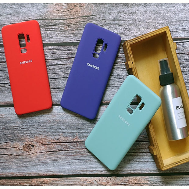 2018 New SAMMSUNG Genuine Silicone Cover For Galaxy S9 S9+ S9 PLUS Anti-knock Protection Business 7 Colors Available Case