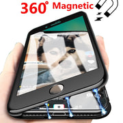 2pcs/lot, 360 Magnetic Adsorption Case For Iphone X 10 Iphone 6S Plus 6 Luxury Coque Cover Case For Iphone 8 Iphone 7 Plus Cases