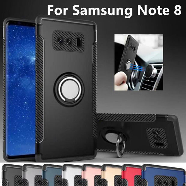 3 In 1 Armor Cases For Samsung Galaxy Note 8 Magnetic Adsorption Case PC TPU Metal Ring Holder Stand Back Cover For Note8 Case