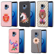 3D Embroidery Stereo Pattern Luxury Case For Samsung Galaxy S9 Plus Floral Unicorn Cute Animal Cases Cover For Samsung S9 S9+
