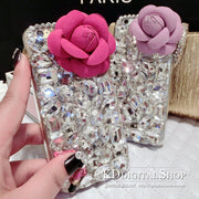 3D Flower Bling Luxury Rhinestone Gem Crystal Diamond Clear Cover For IPhone 6 6S 6S Plus 5 5S SE 5C Lips Lipstick Phone Case