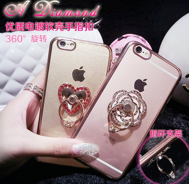 3D Diamond Transparent TPU Soft Case For Iphone 7 7plus 6 6s Plus Ring Bracket 6plus S6 Edge Plus S7 Edge Cover S5 Note5 S8 Plus