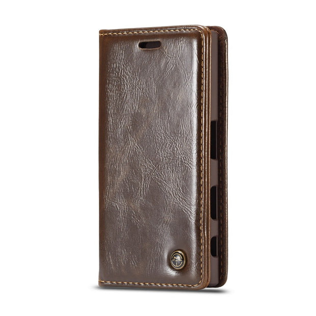 5.0'' For Sony Xperia XZ2 Compact Case Cover Retro Leather Case Hard PC Back Cover Card Kickstand Magnetic Flip Phone Cases