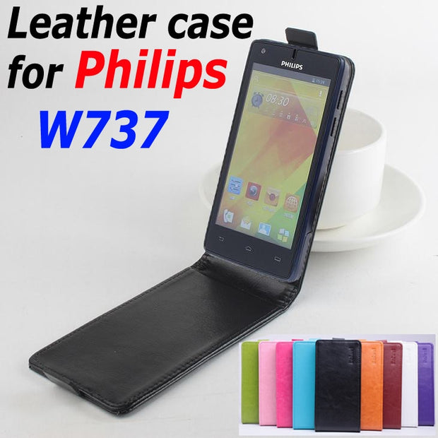 9 Colors High Quality Luxury Leather Case For PHILIPS W737 Flip Cover Case For PHILIPS W 737 Leather Cover Case Phone Cases