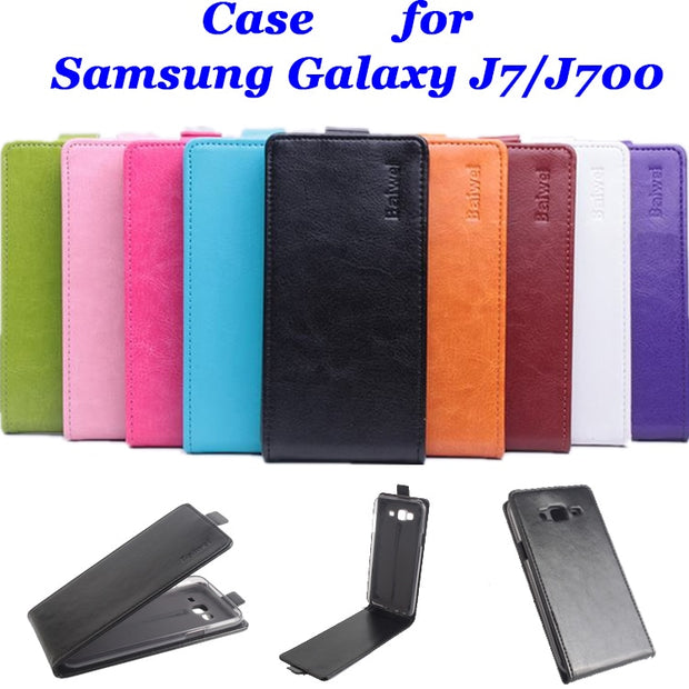 9 Colors High Quality Luxury Leather Case For Samsung Galaxy J7 J700 Flip Cover Case For J700F Cellphone Cases Phone Housing