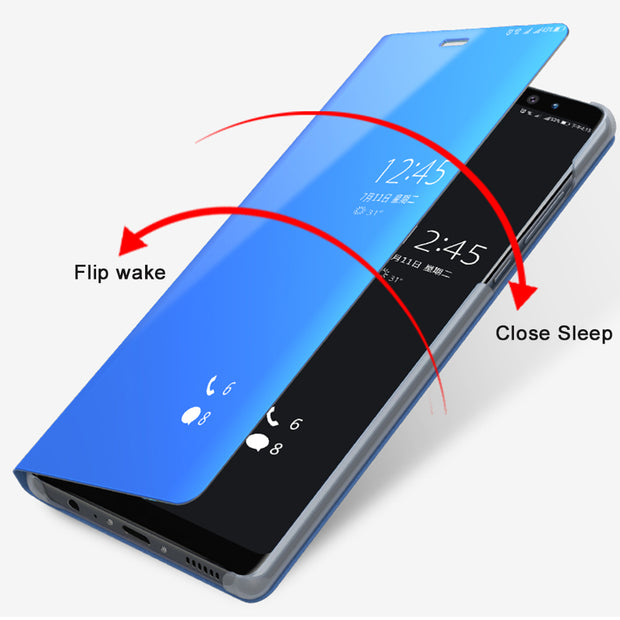 A8 Case For Samsung Galaxy A8 Plus 2018 Cover Flip Magnetism Stand Anti-knock Mirror Phone Shell For Samsung A8 2018 Coque Funda