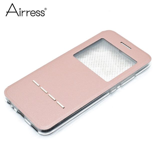 Airress Luxury Smart Filp Phone Case For Huawei P9 Lite Mate 10 Quick Answer View Window Flip Stand P10 Enjoy 7 Plus Cover
