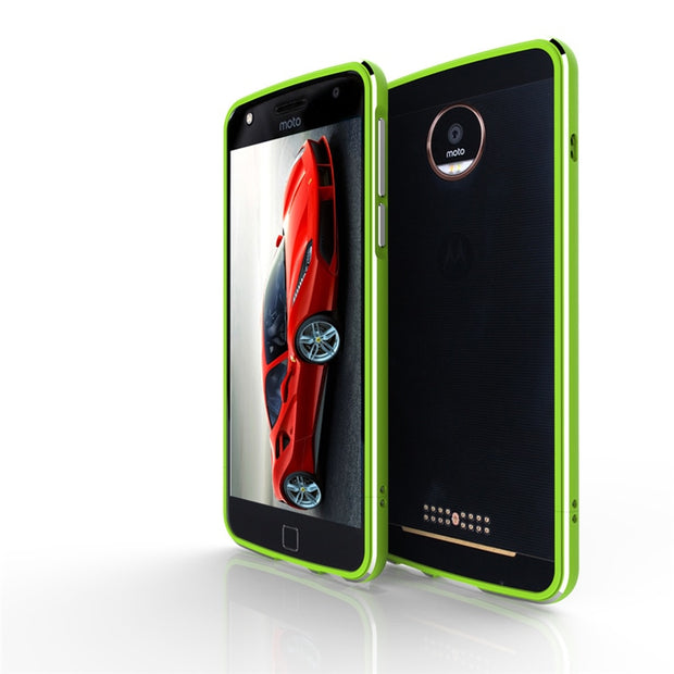 Aluminum Metal Bumper Frame For Motorola Moto Z Play Case Luxury Shockproof Shield Dual Color Case For Moto Z Play Cover 5.5''