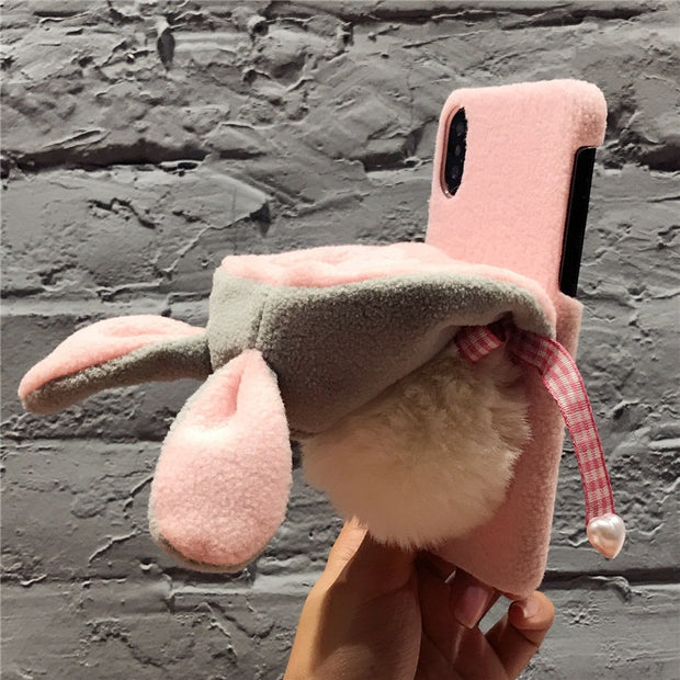 Animal Fur Case For IPhone X 8 7 6 6S Plus Cover Cute Rabbit Hat Case For IPhone X 8 7 7 Plus Phone Accessories Shells