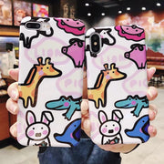 Animal Zoo For IPhoneXs Max 8plus 360 Front Screen Back Cover Protector Phone Case Tempered Glass Film 7plus 6s Full Body Shell