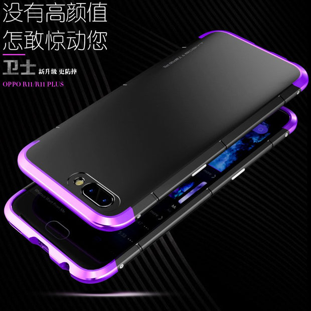 Anti-fall Metal Frame Plastic Back Plate For OPPO R11 Plus Aluminum Alloy Protector Mobile Phone Shell Case R11 Cover Bumper
