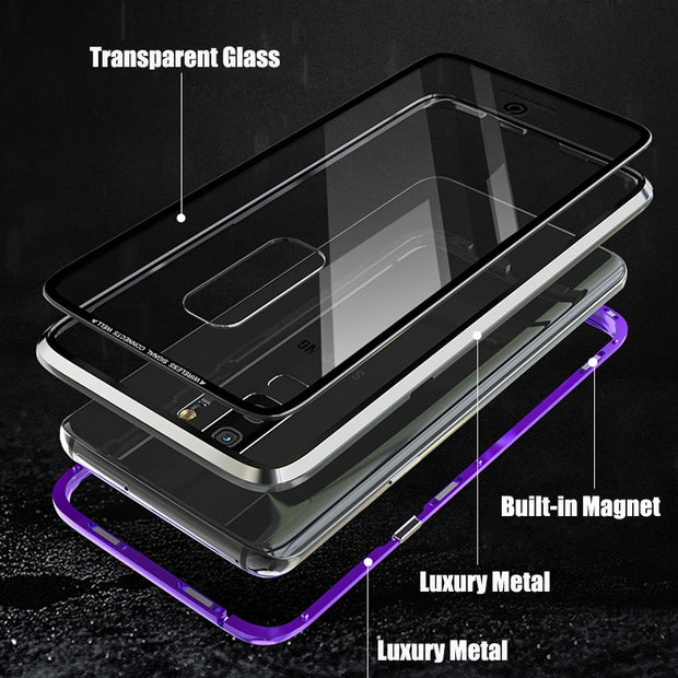 Aojun Magnetic Adsorption Metal Case For Samsung Galaxy S9 Plus Back Transparent Glass Cover For Samsung S9 S9 Plus