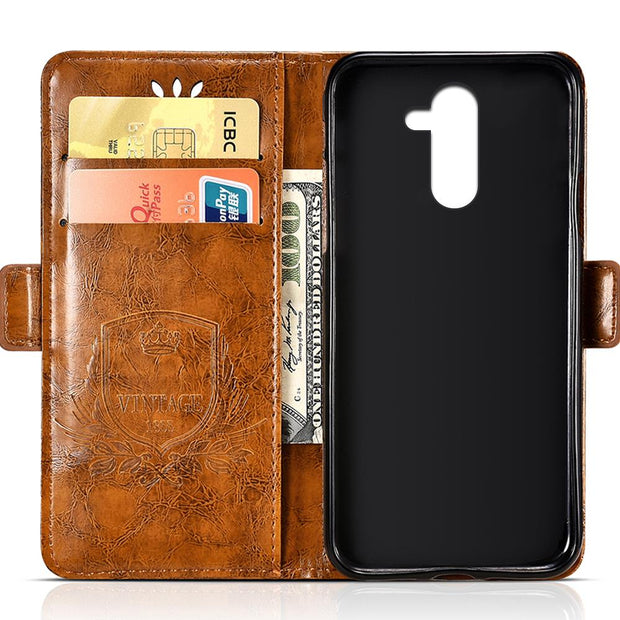 BOGVED Vintage Embossing Flip Leather Case For Cubot X18 Case Silicone Soft For Cubot X18 Plus Cover Mobile Phone Cases Bags