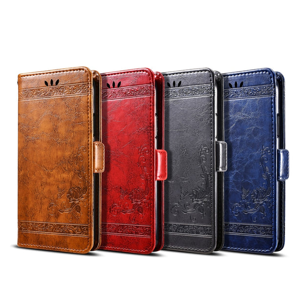 BOGVED Vintage Embossing Flip Leather Case For Homtom HT16 Case Silicone Soft For Homtom HT17 Cover Mobile Phone Cases Bags