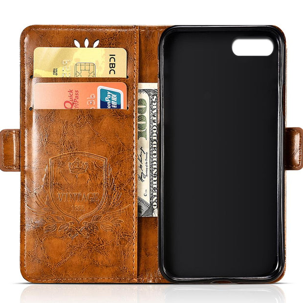 BOGVED Vintage Embossing Flip Leather Case For IPhone 6 Case Silicone Soft For IPhone 6S Cover Mobile Phone Cases Fashion Bags