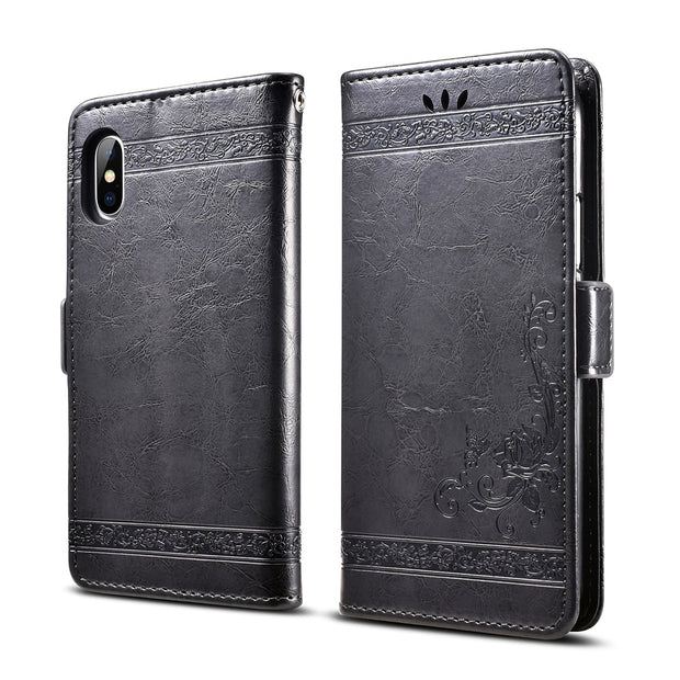 BOGVED Vintage Embossing Flip Leather Case For IPhone 7 Case Silicone Soft For IPhone 8 Cover Mobile Phone Cases Fashion Bags
