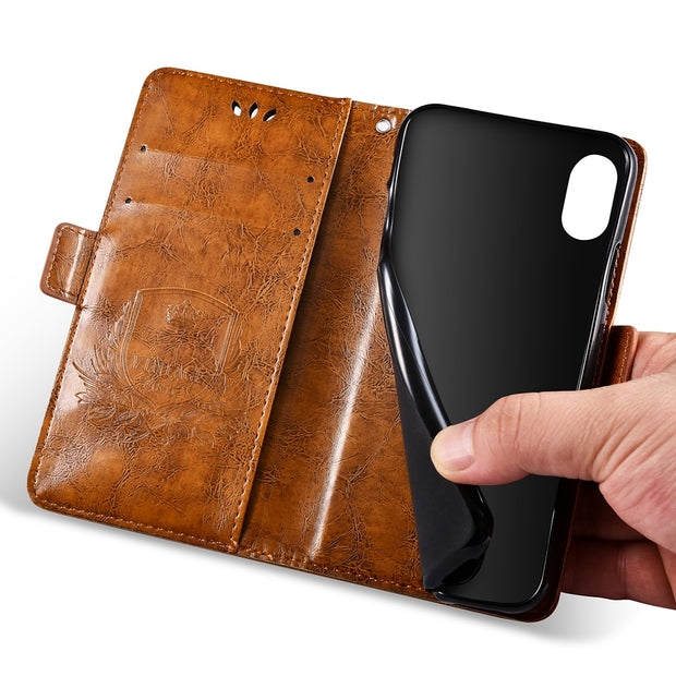 BOGVED Vintage Embossing Flip Leather Case For IPhone 7 Plus Case Silicone Soft For IPhone 8 Plus Cover Mobile Phone Cases Bags