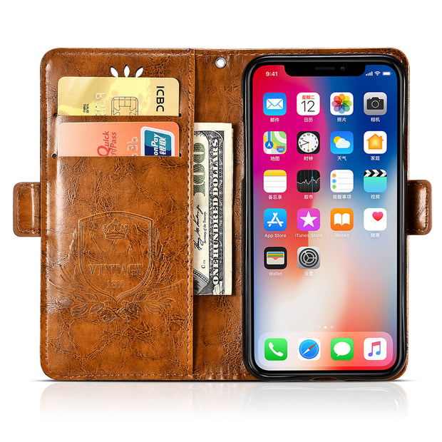 BOGVED Vintage Embossing Flip Leather Case For IPhone X Case Silicone Soft For IPhone 6 6s 7 8 Plus Cover Mobile Phone Cases Bag