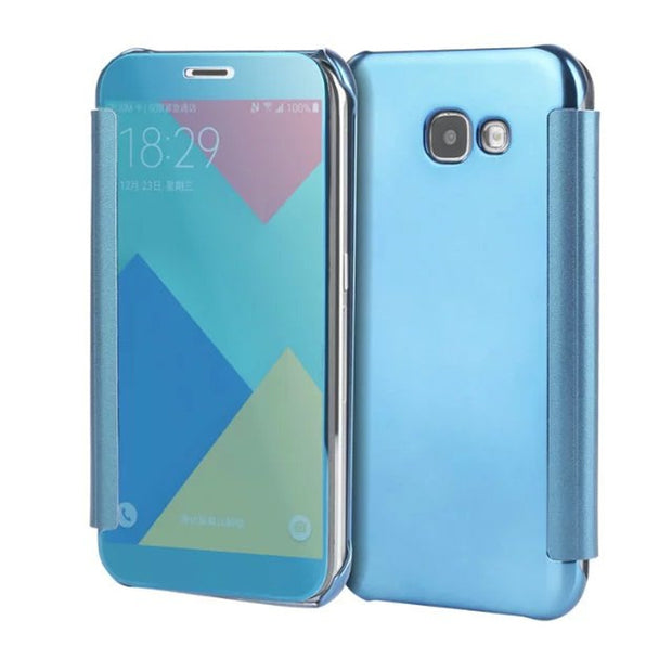 BYHeYang Case For Samsung Galaxy A7 2017 Clear View Mirror Flip Cover For Galaxy A7 2017 A720 A720F Mirror Leather Case