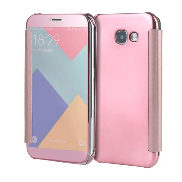 BYHeYang For Samsung Galaxy A5 2017 Fashion Plating Mirror Leather Case Flip Cover For Samsung A5 2017 Case Cover A520F Fundas