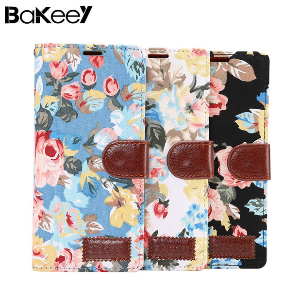 Bakeey Flower Cloth Card Slot Flip Protective Case For Samsung-Galaxy Note 8/S8/S9 Plus/S7/S7 Edge Stand Cover Case Card Slot