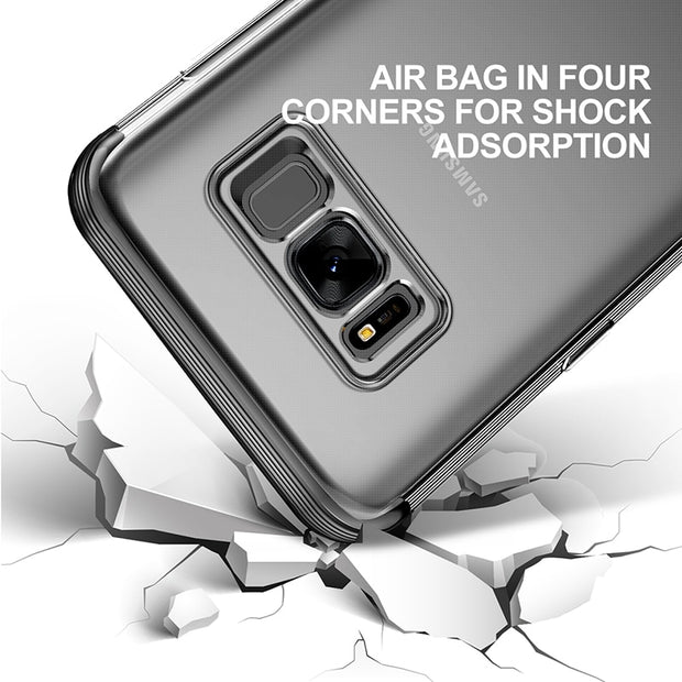 Baseus Brand Phone Cases For Samsung Galaxy S8 Transparent TPU Silicon Case For Mobile Phone Edge Cover Fashion Hard Back Case