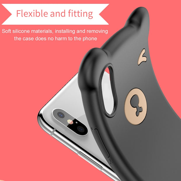 Baseus Cute Bear Case For IPhone XR Xs Max Capinhas Soft Silicone Cover Protective Back Cases For IPhone X S Max XR Coque Funda
