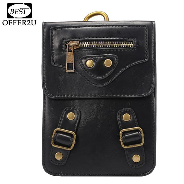"Bestoffer2U PU Leather Case For IPhone 4 5 SE 5S 6 6s 7 Plus 6"" Below Three Pockets Holster Sport Bag Hook Loop Belt Pouch Cover"