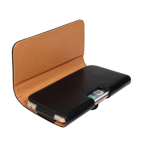 "Black Leather Belt Clip Pouch Cover Case For IPhone 6 Plus 5.5"" LG G3 G4 For Samsung Galaxy Note 2 3 4 Oneplus One Redmi Note"